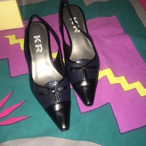 Point Toed Navy and Black Audrey Heel still in Box
